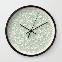 Sage Medallion with Butterflies & Daisy Chains Wall Clock
