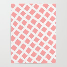 Coral Pink & White Diagonal Grid Pattern - Black & Pink - Mix & Match with Simplicity of Life Poster