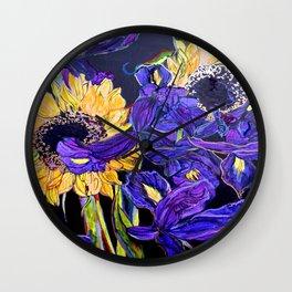 Sunflower & Iris Wall Clock