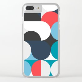 Circles Curves Shapes, Abstract and Geometry, Red, White, blues, black Clear iPhone Case