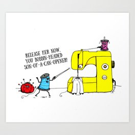 Evil Sewing Machine Cartoon Art Print