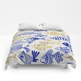 Inked Fish – Navy & Gold Comforters