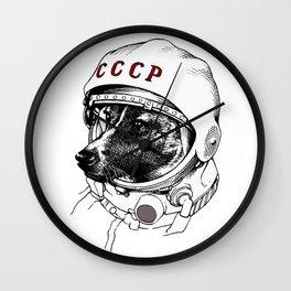 laika, space traveler Wall Clock