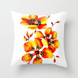 Watercolor Sparaxis Elegans South African Floral Pattern Throw Pillow