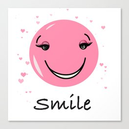Pink cute smily face design Canvas Print