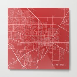 Gainesville Map, USA - Red Metal Print