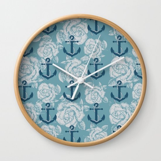 Roses & Anchors II Wall Clock
