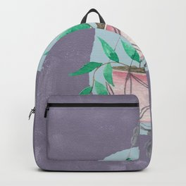 Watercolor Hanging Plant On Purple Backpack