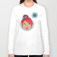 redhead Long Sleeve T-shirts featuring redhead bla by adi katz