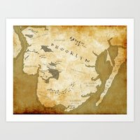westeros Art Prints featuring Fantasy Map of Brooklyn: Gold Parchment by Midgard Maps