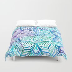 Iridescent Aqua and Purple Watercolor Mandala Duvet Cover