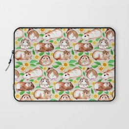Guinea Pigs and Daisies in Watercolor Laptop Sleeve