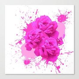 CERISE PINK ROSE PATTERN WATERCOLOR SPLATTER Canvas Print