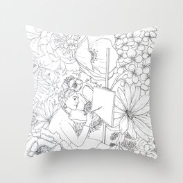 Open: Frida at her Easel Throw Pillow