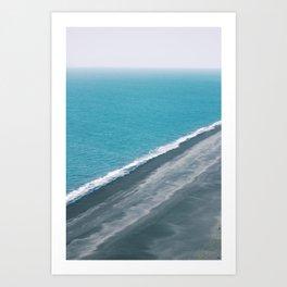 Black Sand Beach Shoreline Art Print
