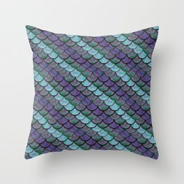 Opalescent Mermaid Scale Stripes Throw Pillow