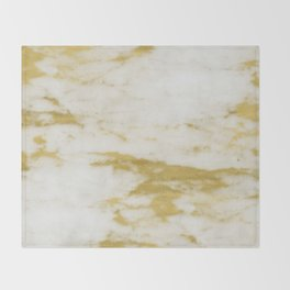 Marble - Shimmery Gold Marble and White Throw Blanket