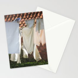 Hanging laundry in the wind Stationery Cards