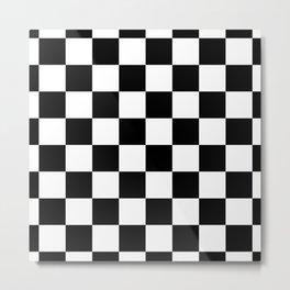 Check (Black & White Pattern) Metal Print