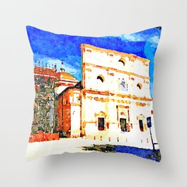 L'Aquila: church and building with scaffolding Throw Pillow