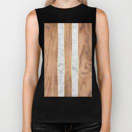 Wood Grain Stripes - White Marble #497 Biker Tank