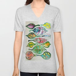 Abstract Leaf Colors Unisex V-Neck