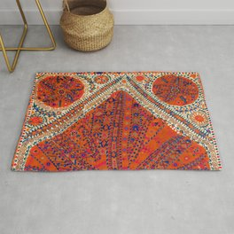 Orange Wildflower Sunshine III // 18th Century Colorful Rusty Red Bright Blue Metallic Happy Pattern Rug