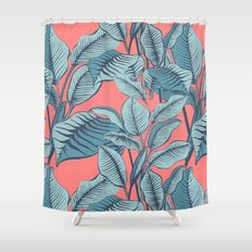 Pink Exotic Tropical Banana Palm Leaf Print Shower Curtain