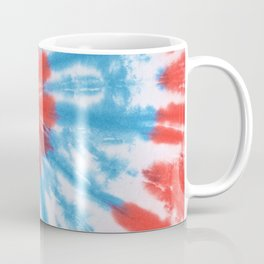 Red and Blue Abstract Spiral Tie and Dye Multi-coloured Print Coffee Mug