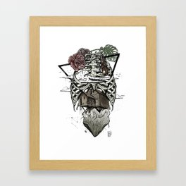 Esqueleton Illustration by Javi Codina Framed Art Print