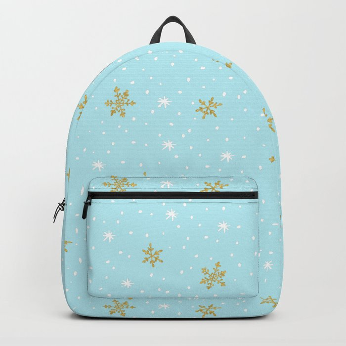 Merry christmas- abstract winter pattern with white & gold Snowflakes Backpack