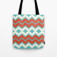 ikat Tote Bags featuring Ikat by Deepti Munshaw