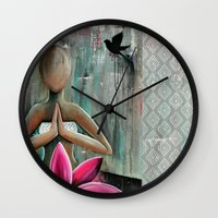 namaste Wall Clocks featuring Namaste  by hippocrocaduck