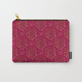 Gold Monstera on Rasberry Pink Carry-All Pouch