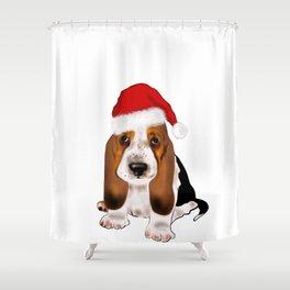 Cute Santa basset hound dog.Christmas puppy gift idea Shower Curtain