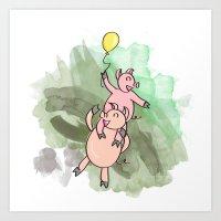 PIG PIGGYBACK Art Print