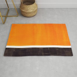 Minimalist Mid Century Modern Color Block Pop Art Rothko Inspired Golden Yellow Black Squares Rug