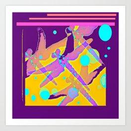 Purple Dragonflies MirageAbstrct Art Print