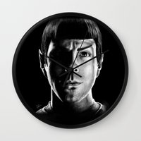 spock Wall Clocks featuring Spock by Sarah Riebe