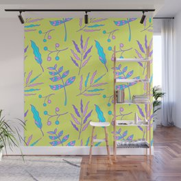 whimsical garden plants pattern Wall Mural