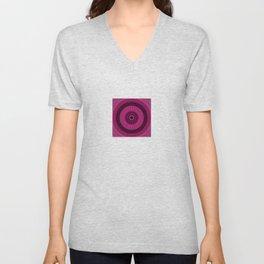 Bright Pink Mandala with Gold Brushed Stitching Unisex V-Neck