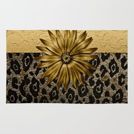 Animal Print Brown and Gold Animal Medallion Rug