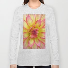 Pink and Yellow Dahlia Flower / Nature Macro Photography Long Sleeve T-shirt