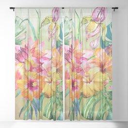 Tropical Hibiscus Garden Sheer Curtain