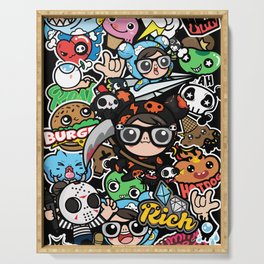 Black cute graphic Serving Tray