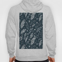 Feathers And Leaves Abstract Pattern Black And White Hoody