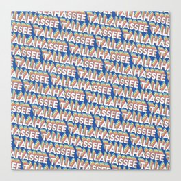 Tallahassee Tennessee Trendy Rainbow Text Pattern (Blue) Canvas Print