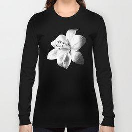 White Lily Black Background Long Sleeve T-shirt