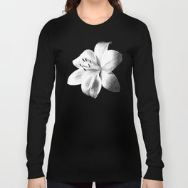 White Lily Black Background Langarmshirt