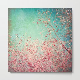 Blue Autumn, Pink leafs on blue, turquoise, green, aqua sky Metal Print